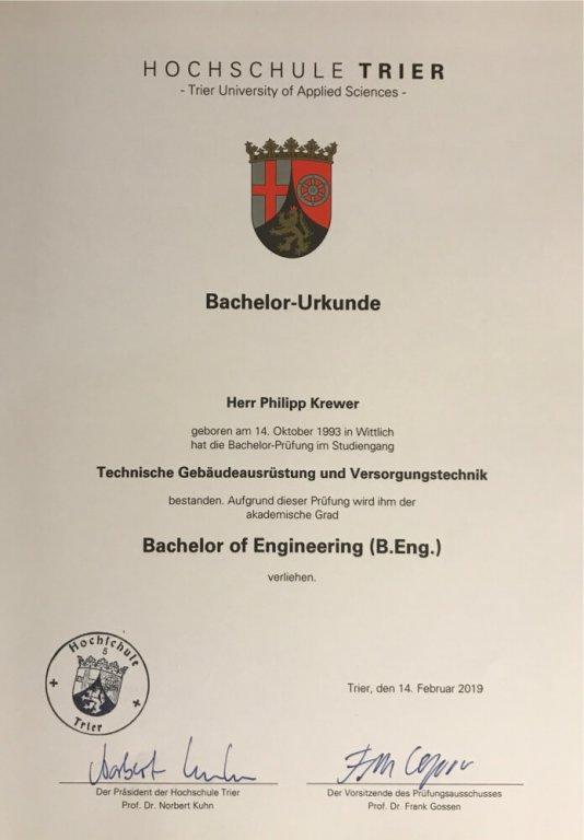 Bachelor-Urkunde Philipp Krewer