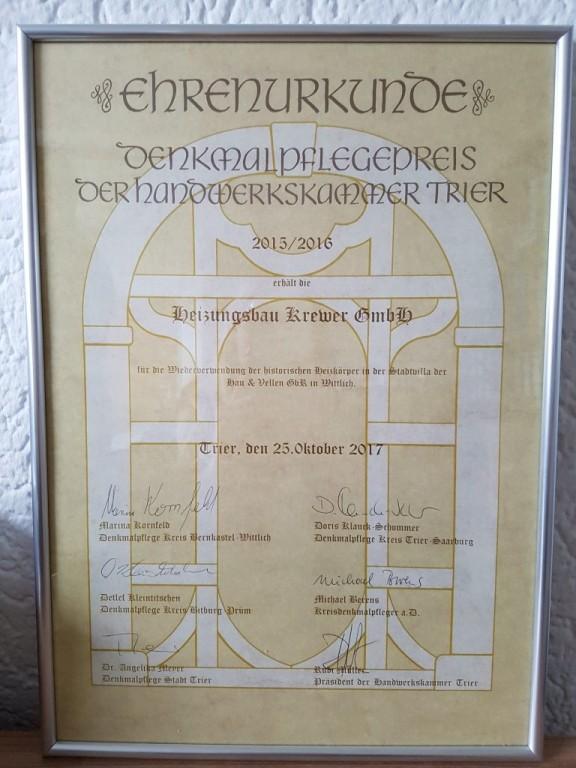 Denkmalpflegepreis der Handwerkskammer Trier für Jugendstilvilla in Wittlich