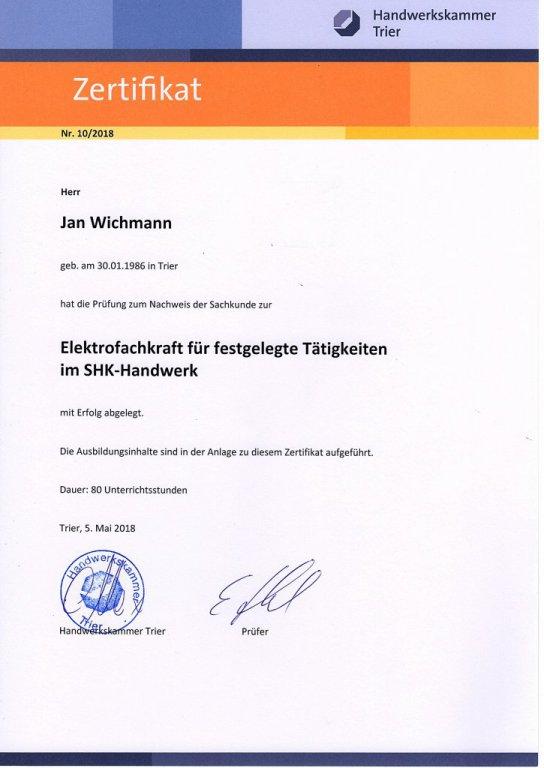 Erfolgreich bestandene Prüfung zur Elektrofachkraft im SHK-Handwerk