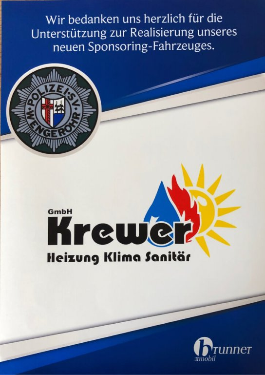 Sponsoring des neuen Fahrzeugs des Polizei-SV Wengerohr e.V.