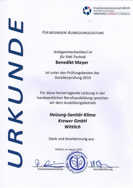 Urkunde der Kreishandwerkerschaft für besondere Ausbildungsleistung