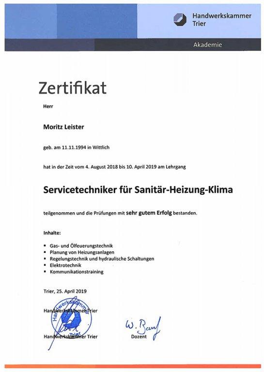 Erfolgreich bestandene Servicetechniker Prüfung für Heizung, Klima & Sanitär